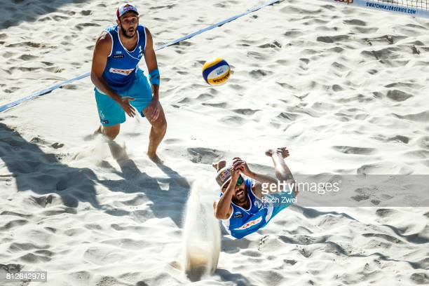 Daniele Lupo of Italy recieves the ball during the third stage of the Swatch Beach Volleyball Major Series 2017 on July 8 2017 in Gstaad Switzerland