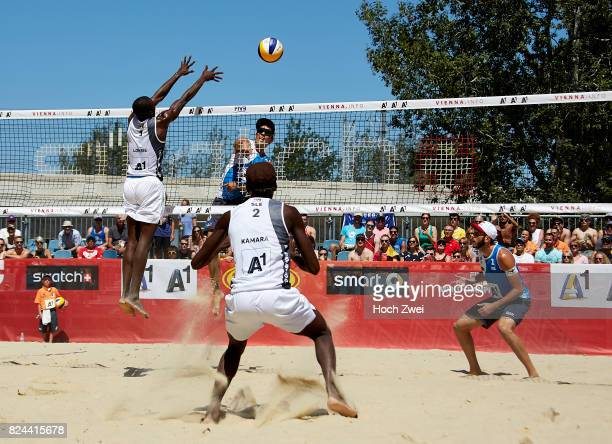 Daniele Lupo of Italy spikes the ball during Day 2 of the FIVB Beach Volleyball World Championships 2017 on July 29 2017 in Vienna Austria