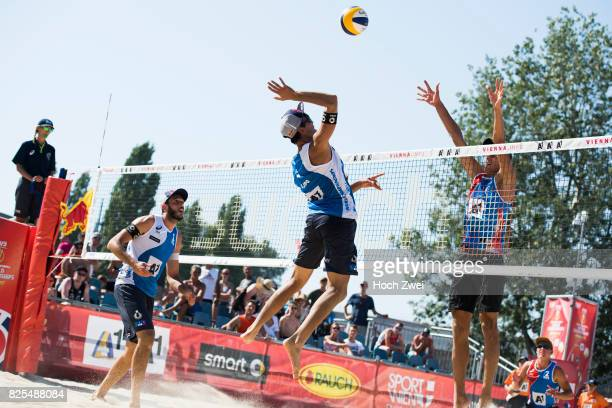 Daniele Lupo of Italy spikes the ball during Day 5 of the FIVB Beach Volleyball World Championships 2017 on August 1 2017 in Vienna Austria