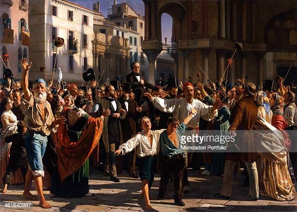 Daniele Manin and Nicolò Tommaseo freed from jail and carried in triumph in St Mark's Square by Napoleone Nani 1874 1876 19th Century canvas Italy...