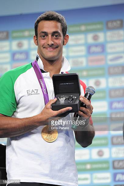 Daniele Molmenti celebrates with the gold medal in Canoe/Kayak at London 2012 Olympic Games at The Queen Elizabeth II Conference Centre on July 29...
