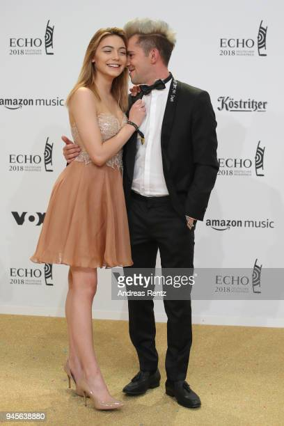 Daniele Negroni and girlfriend Tina Neumann arrive for the Echo Award at Messe Berlin on April 12 2018 in Berlin Germany