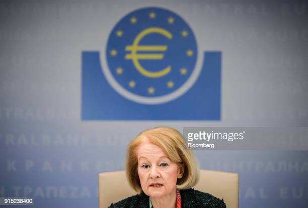 Daniele Nouy head of the oversight arm at the European Central Bank speaks during the ECB's banking supervision news conference in Frankfurt Germany...