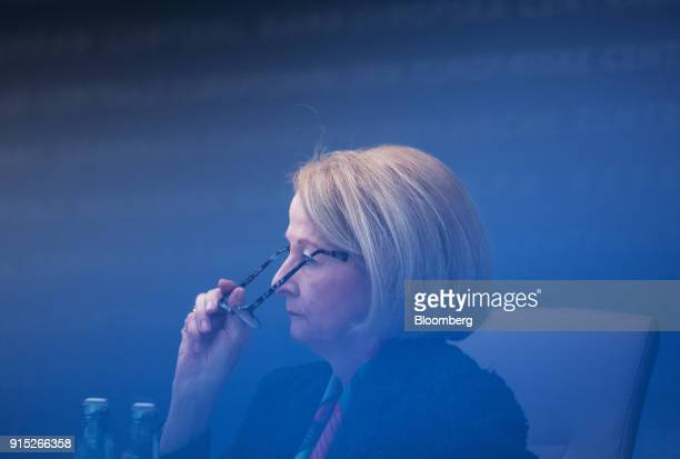 Daniele Nouy head of the oversight arm at the European Central Bank adjusts her spectacles during the ECB's banking supervision news conference in...