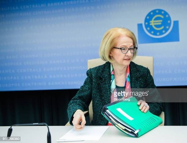 Daniele Nouy head of the oversight arm at the European Central Bank arrives for the ECB's banking supervision news conference in Frankfurt Germany on...