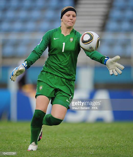 Daniele of Brazil in action during the FIFA U17 Women's World Cup Quarter Final match between Spain and Brazil at the Ato Boldon Stadium on September...