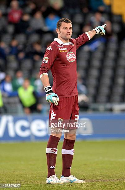 Daniele Padelli goalkeeper of Torino FC gestures during the Serie A match between Udinese Calcio and Torino FC at Stadio Friuli on December 15 2013...