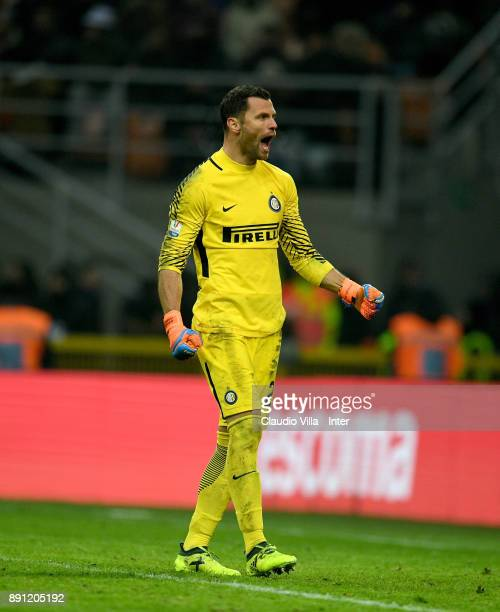 Daniele Padelli of FC Internazionale celebrates during the TIM Cup match between FC Internazionale and Pordenone at Stadio Giuseppe Meazza on...