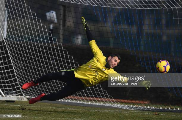 Daniele Padelli of FC Internazionale in action during a training session at the club's training ground Suning Training Center in memory of Angelo...