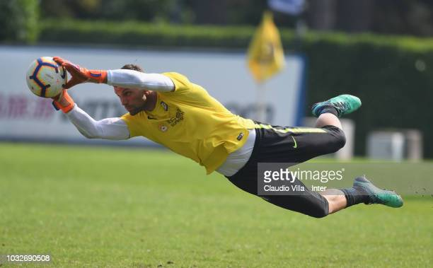 Daniele Padelli of FC Internazionale in action during the FC Internazionale training session at the club's training ground Suning Training Center in...
