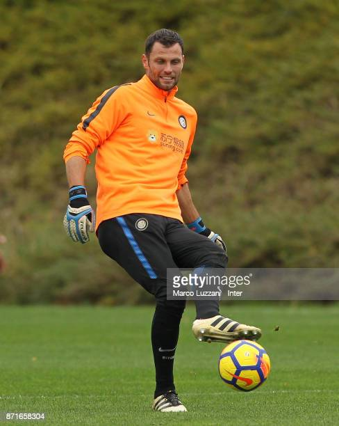 Daniele Padelli of FC Internazionale in action during the FC Internazionale training session at the club's training ground 'La Pinetina' on November...