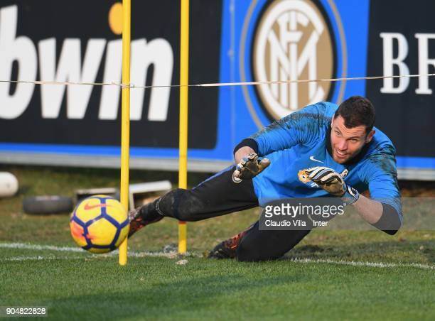 Daniele Padelli of FC Internazionale in action during the FC Internazionale training session at Suning Training Center at Appiano Gentile on January...