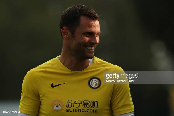 Daniele Padelli of FC Internazionale looks on during the FC Internazionale training session at the club's training ground Suning Training Center in...