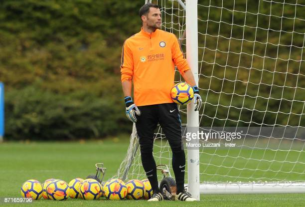 Daniele Padelli of FC Internazionale looks on during the FC Internazionale training session at the club's training ground 'La Pinetina' on November 8...