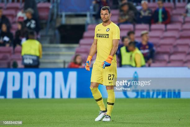 Daniele Padelli of FC Internazionale looks on during the UEFA Champions League group B match between FC Barcelona and FC Internazionale at Camp Nou...