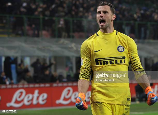 Daniele Padelli of FC Internazionale Milano celebrates after save a penalty kick during the TIM Cup match between FC Internazionale and Pordenone at...