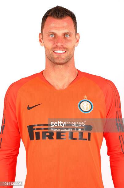 Daniele Padelli of FC Internazionale poses with the club shirt at the club's training ground Suning Training Center in memory of Angelo Moratti on...