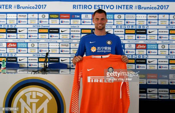 Daniele Padelli of FC Internazionale speaks with the media during a FC Internazionale press conference on July 8 2017 in Reischach near Bruneck Italy