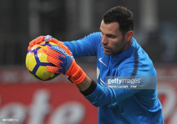Daniele Padelli of FC Internazionale warms up ahead of the TIM Cup match between FC Internazionale and Pordenone at Stadio Giuseppe Meazza on...