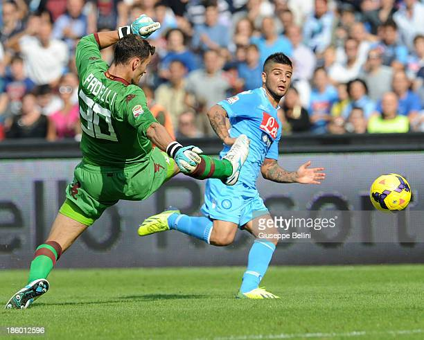 Daniele Padelli of Torino and Lorenzo Insigne of Napoli in action during the Serie A match between SSC Napoli and Torino FC at Stadio San Paolo on...
