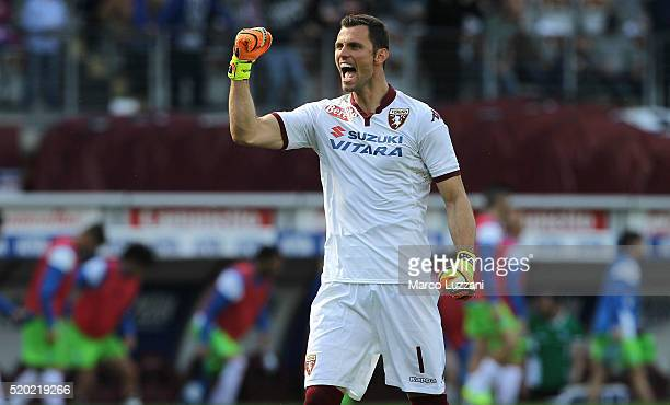 Daniele Padelli of Torino FC celebrates a victory at the end of the Serie A match between Torino FC and Atalanta BC at Stadio Olimpico di Torino on...