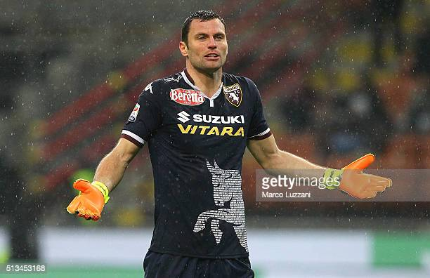 Daniele Padelli of Torino FC gestures during the Serie A match between AC Milan and Torino FC at Stadio Giuseppe Meazza on February 27 2016 in Milan...