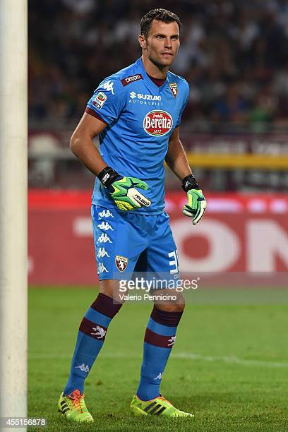 Daniele Padelli of Torino FC reacts during the Serie A match between Torino FC and FC Internazionale Milano at Stadio Olimpico di Torino on August 31...