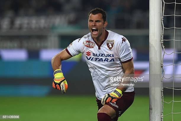 Daniele Padelli of Torino FC reacts during the Serie A match between Torino FC and SSC Napoli at Stadio Olimpico di Torino on May 8 2016 in Turin...