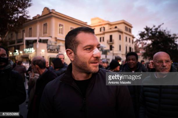 Daniele Piervincenzi takes part in demonstration for freedom of the press in Ostia suburb of Rome Italy on November 16 2017 Libera and FNSI organized...
