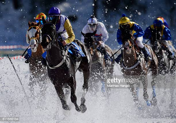 Daniele Porcu riding Soundtrack compete during the Grosser Preis von St Moritz Flat Race of the White Turf St Moritz on February 21 2016 in St Moritz...