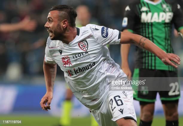 Daniele Regatzu of Cagliari Calcio celebrates his goal during the Serie A match between US Sassuolo and Cagliari Calcio at Mapei Stadium Citta del...