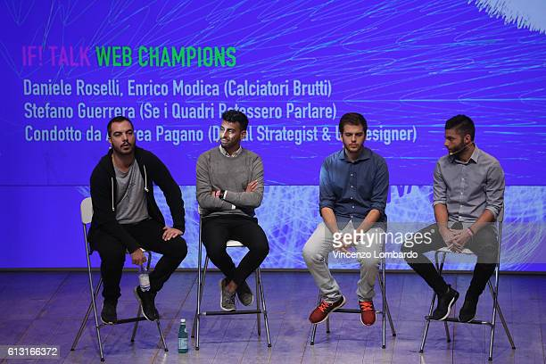 Daniele Roselli and Enrico Modica Stefano Guerrera and Andrea Pgano speak onstage during the IF Italians Festival 2016 at Franco Parenti Theater on...