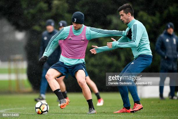 Daniele Rugani and Arnel Jakupovic during a Juventus training session at Juventus Center Vinovo on March 15 2018 in Vinovo Italy