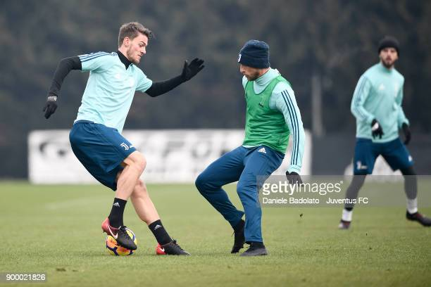 Daniele Rugani and Claudio Marchisio during a Juventus Training Session at Juventus Center Vinovo on December 31 2017 in Vinovo Italy