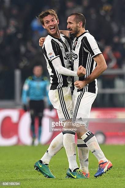 Daniele Rugani and Giorgio Chiellini of Juventus FC celebrate victory at the end of the Serie A match between Juventus FC and AS Roma at Juventus...