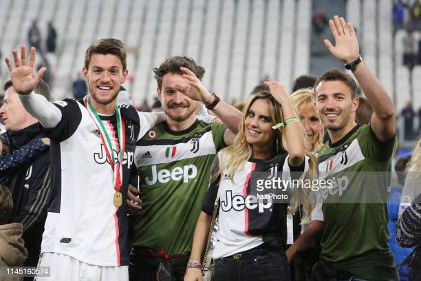 Daniele Rugani and his family during the victory ceremony following the Italian Serie A last football match of the season Juventus versus Atalanta on...