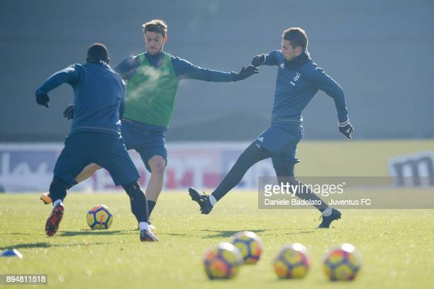 Daniele Rugani and Marko Pjaca during a Juventus Training Session at Juventus Center Vinovo on December 18 2017 in Vinovo Italy