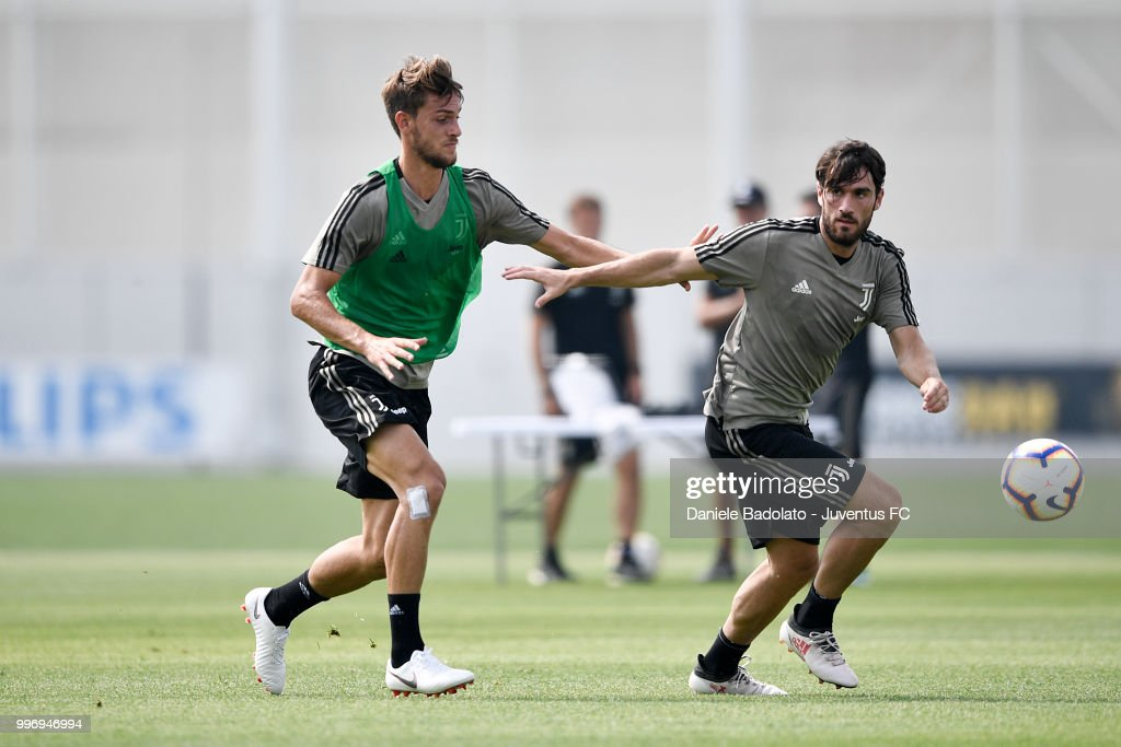 Daniele Rugani and Stefano Padovan during a Juventus training session at Juventus Training Center on July 12, 2018 in Turin, Italy.