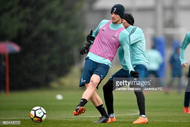 Daniele Rugani during a Juventus training session at Juventus Center Vinovo on March 15 2018 in Vinovo Italy