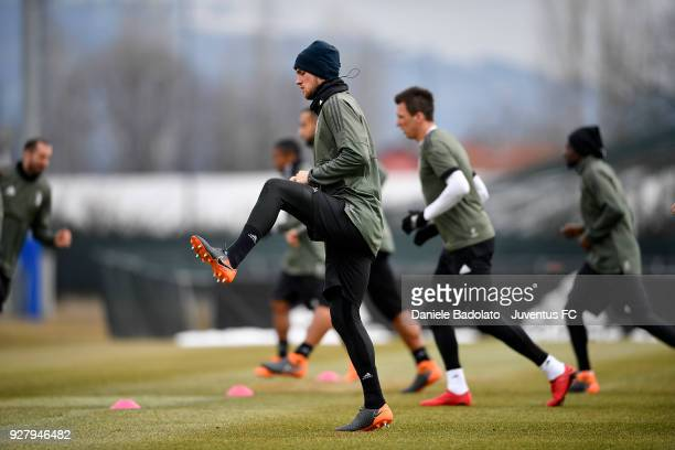 Daniele Rugani during the training session before the Champions League match between Tottenham Hotspur and Juventus at Juventus Center Vinovo on...