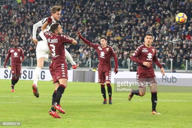 Daniele Rugani in action during the Italian Cup quarterfinal between Juventus FC and Torino FC at Allianz Stadium on 03 January 2018 in Turin Italy...