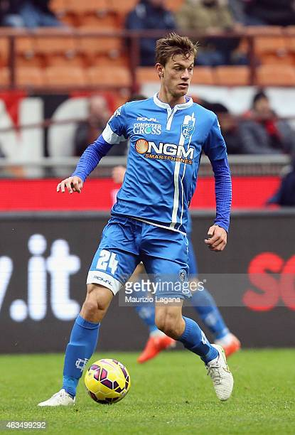 Daniele Rugani of Empoli during the Serie A match between AC Milan and Empoli FC at Stadio Giuseppe Meazza on February 15 2015 in Milan Italy