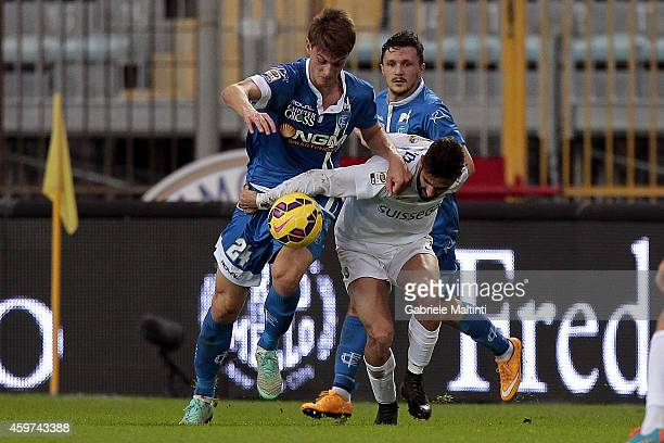 Daniele Rugani of Empoli FC battles for the ball with Marco D'Alessandro of Atalanta BC during the Serie A match between Empoli FC and Atalanta BC at...