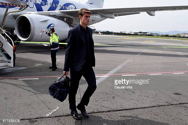 Daniele Rugani of Italy arrives to Florence Airport on March 25 2016 in Florence Italy
