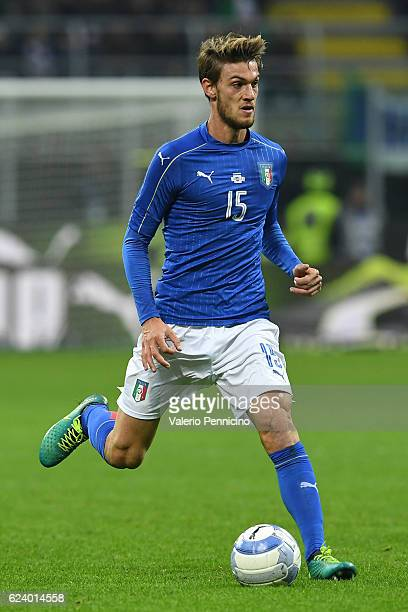 Daniele Rugani of Italy in action during the International Friendly Match between Italy and Germany at Giuseppe Meazza Stadium on November 15 2016 in...