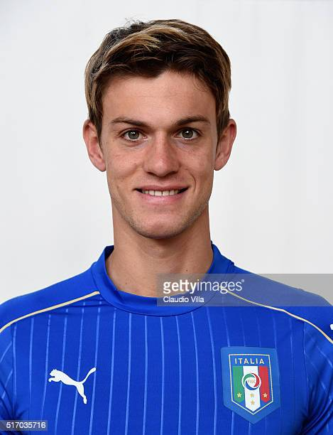 Daniele Rugani of Italy poses during the official portrait session at Coverciano on March 23 2016 in Florence Italy