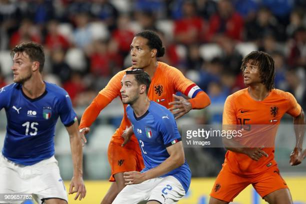 Daniele Rugani of Italy Virgil van Dijk of Holland Mattia De Sciglio of Italy Nathan Ake of Holland during the International friendly match between...