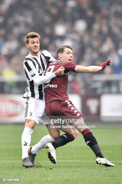 Daniele Rugani of Juventus and Andrea Belotti of Torino during the serie A match between Torino FC and Juventus at Stadio Olimpico di Torino on...