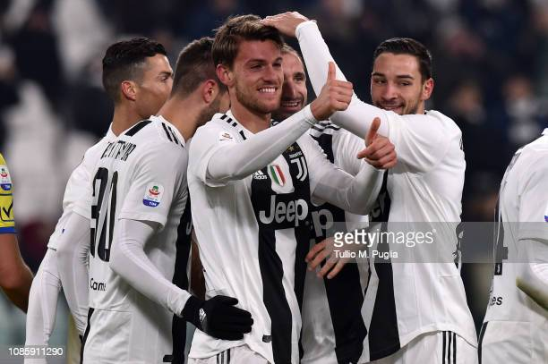 Daniele Rugani of Juventus celebrates after scoring his team's third goal during the Serie A match between Juventus and Chievo at Allianz Stadium on...