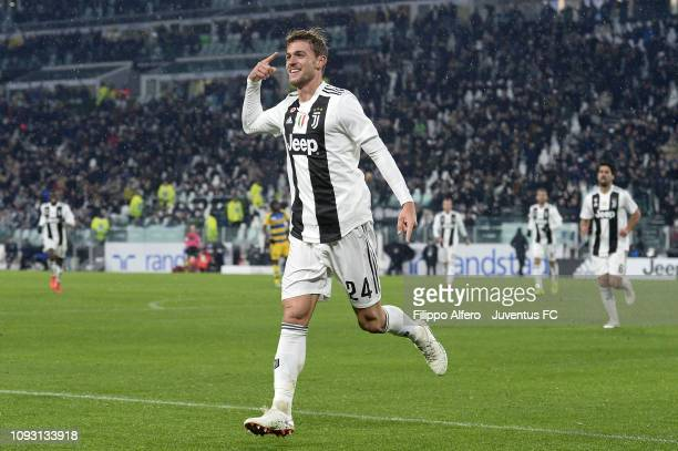 Daniele Rugani of Juventus celebrates after scoring the second goal of his team during the Serie A match between Juventus and Parma Calcio at Allianz...